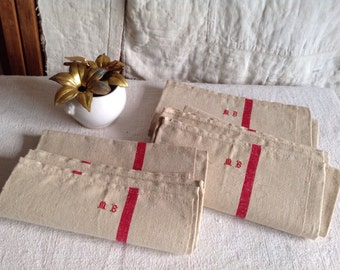 Antique Linen, Vintage French Metis Tea Towel. Monogram MB Dishcloth Rustic Kitchen ONE pc Unused