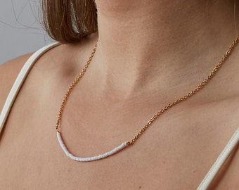 Short Gold Chain Necklace With Tiny White Beads