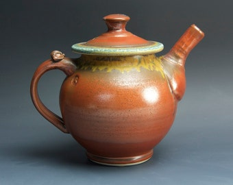 Sale - stoneware teapot, pottery tea pot, ceramic teapot brick red 44 oz 3537