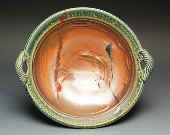 Handmade white stoneware serving platter iron red 2595