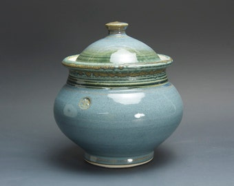 Handmade stoneware sugar bowl storage jar tea caddy blue/green 3075