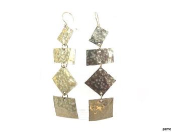 Hammered geometric earrings, Long silver earrings, modern metal jewelry, gift under 40