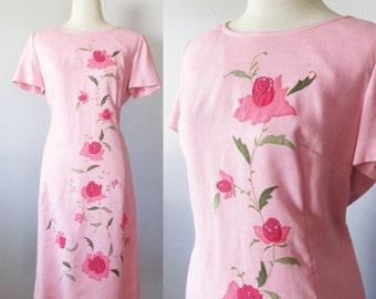 Vintage 1960's Pink Floral Day Shift Dress / Designer Nicholas Ungar Woman's Fab 60's Retro Mod Dress / Size X-Large Plus