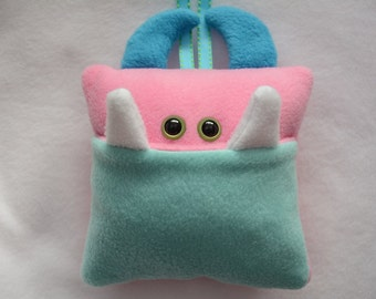 Tooth Fairy Pillow | Pink and Aqua Blue Tooth Monster | Tooth Fairy Monster Pillow