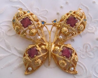 Vintage Avon Butterfly Brooch with Faux Pearls, Rhinestones and Purple Glass