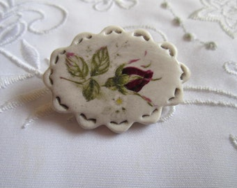 Vintage China Oval Brooch with Red Rose and Green Leaves