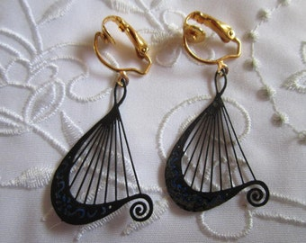 Vintage Gold Tone Black Harp-Shaped Clip On Earrings with Blue Accents