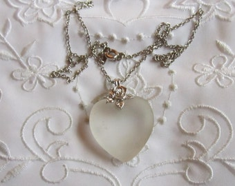 Vintage Delicate Chain and Frosted Glass Heart Pendant Necklace from Korea
