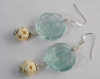 Flower Dangle Earrings, Spring Blooms, Bone Bead Earrings, Woodland Earrings, Shabby Chic Jewelry, Blue Flowers
