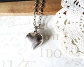 BEAT vintage solid copper cast silver plated heart charm necklace | silver | wedding day | valentines | vintage | romantic | gift | love