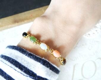 sorcerors STONE multi-stone vintage bracelet charm antique | fan | vintage | 1960s | tigers eye | jade | onyx | rainbow | stacking | tiny
