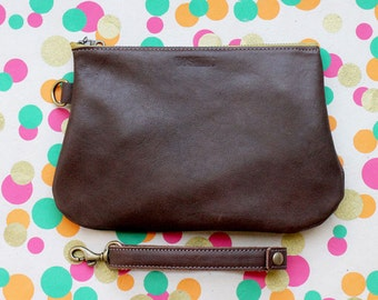 Leather Pouch / Clutch bag / Purse Clutch / Makeup Pouch with Strap Handle - Brown