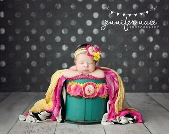 Pink's Lemonade-bright pink and yellow ruffle and rosette headband and or sash