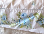 Vintage Queen Flat Sheet, Percale, Blue and Aqua Roses