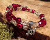 Red Christmas Bracelet for Kids and Teens with Silver Joy Charm