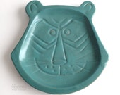 Vintage Pacific Stoneware People Lover Blue Green Tiger Cat Face Dish B Welsh