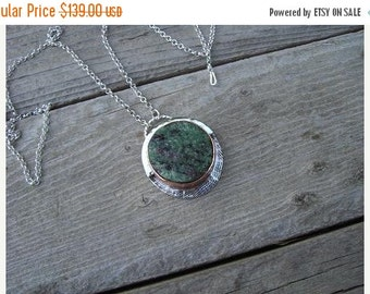 ON SALE Ruby in zoisite necklace in sterling silver