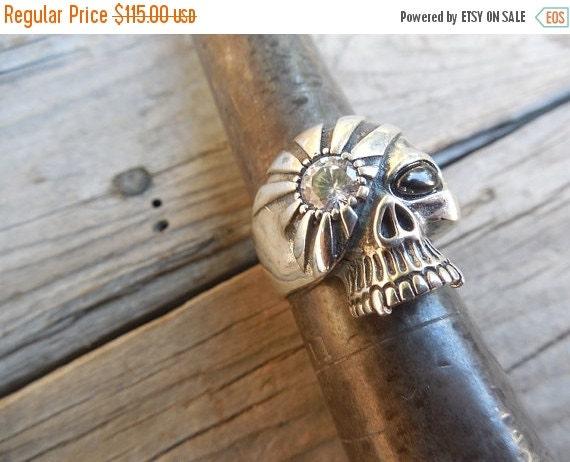 ON SALE Vampire skull ring in sterling silver
