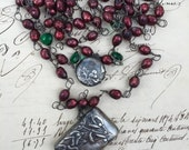 Lay a way Payment - MISTLETOE and HOLLY - Triple Strand Necklace with Faceted Berry Pearls and Antique Silver Christmas Lockets from France