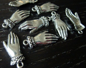 Destash (8) Delicate Hand Glove detailed silver charm pendant - for pendants, jewelry making, crafts, scrapbooking