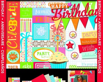 "mambiKIT Scrapbook Themed Kit – 8x8""- Happy Birthday! - paper, stickers, party celebration cupcake - brand new!"