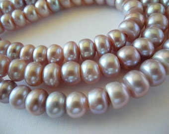 Large Hole Button Pearls Natural Color Mauve Purple 10mm Freshwater Cultured 28 Pearls