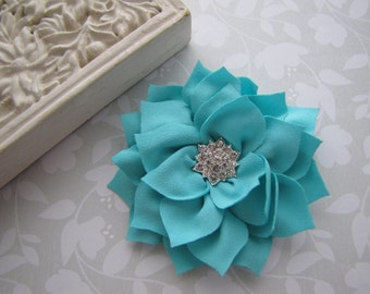 Chiffon Poinsettia . clippie . girls hair accessory . rhinestone button . turquoise