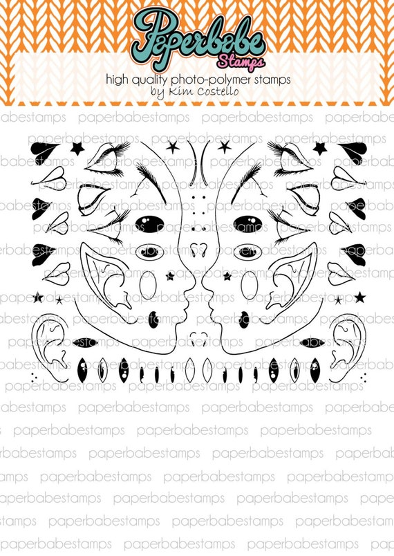 Profile Face Mini Stamp Set - Paperbabe Stamps - Clear Photopolymer Stamps - For paper crafting and scrapbooking.