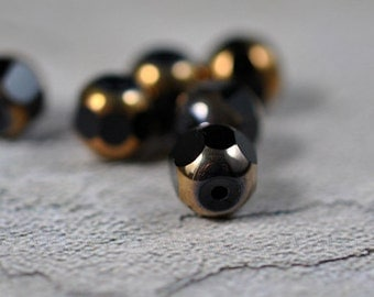cathedral glass beads, black and bronze, 8mm, #240