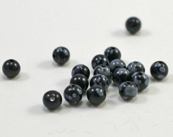 Snowflake obsidian round beads, 4mm, #1479