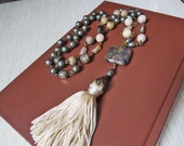 Stone Tassel Necklace Semi Precious Stones Silk Tassel Long Necklace