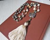 Stone Tassel Necklace Semi Precious Stones Silk Tassel Long Necklace