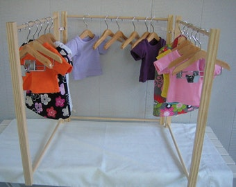 Doll Clothes Rack for American Girl Doll 18 Inch Doll. Handmade Wood Clothing Rack.