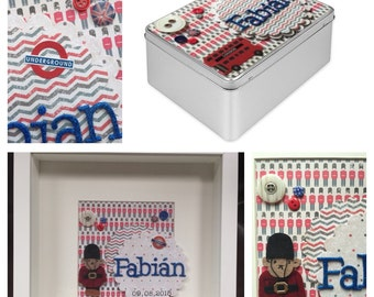 Personalised matching set which includes Treasure Tin Box and frame with name and Paddigton bear and London Theme