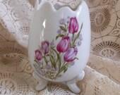 Egg Vase Footed Vintage Japan Tulips at Quilted Nest