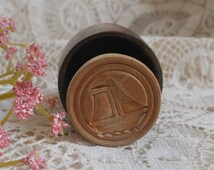 Sailboat Wooden Butter Mold Cookie Press Antique at Quilted Nest