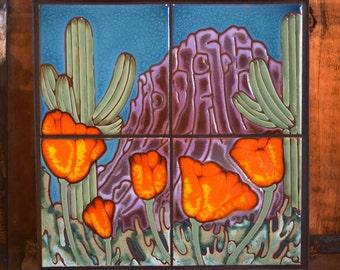 12x12 Desert  Poppies Tile Mural
