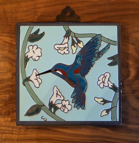 """8""""x8"""" Hand Glazed Ceramic Tile Hummingbird Mural"""