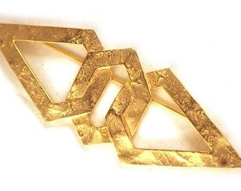 Brooch Goldtone Vintage Angular Diamond Shape