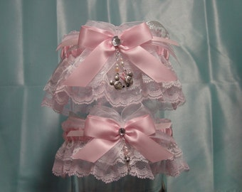 Pink Disney Inspired Mickey & Minnie Mouse Wedding Garter Set