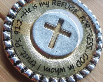 He is my refuge...fortress...God in whom I trust...Psalm 91:2... gold silver word scripture quote pendant with chain