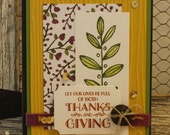 Fall Thanks & Giving Leaves Fancy Greeting Card AutumnThanksgiving Handmade in Green Rust Purple Yellow