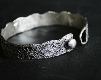 Lace bangle no 1 - narrow sterling silver lace cast bangle - MADE TO ORDER