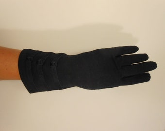 Keeping Up Appearances - Vintage WW2 1940s Crescendoe Navy Blue Heavy Rayon Gloves - 7