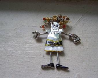 Silver Weird Articulated Girl Woman Brooch