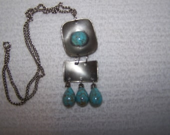 CLEARANCE Retro Modernist Pewter Turquoise Drop Articulated Necklace