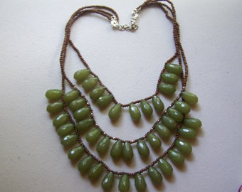 CLEARANCE Chunky Olive Green Faceted Tear Drop 3 Strand Statement Necklace