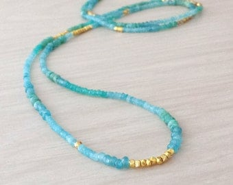 Gold and Aquamarine Jade Long Beaded Necklace with Gold Accents