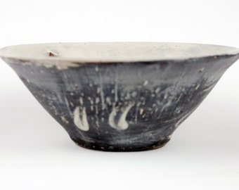 Black Bowl with White Brush Marks