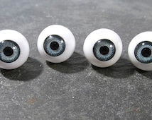14mm Gray Doll Eyes VINTAGE Plastic EYES Crystal Cut Rimmed Four (4) Pairs Vintage Doll Parts Jewelry Doll Making Supplies (N157)